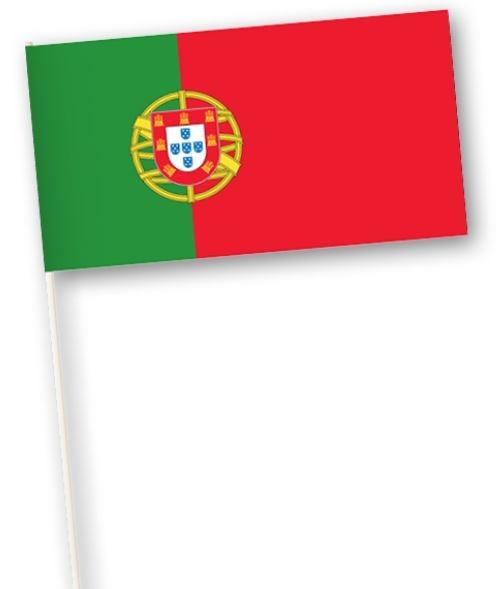 Zwaaivlaggetje Portugal 11x21cm, stoklengte 40cm