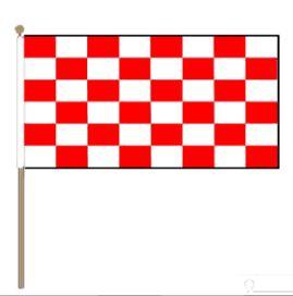 Zwaaivlag Start XXL rood wit geblokt 90x150cm met stok van 135cm
