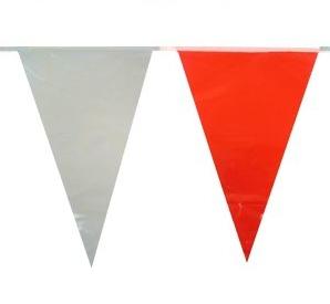 Vlaggenlijn rood wit PE wimpels 10m, clubkleuren vlaggen