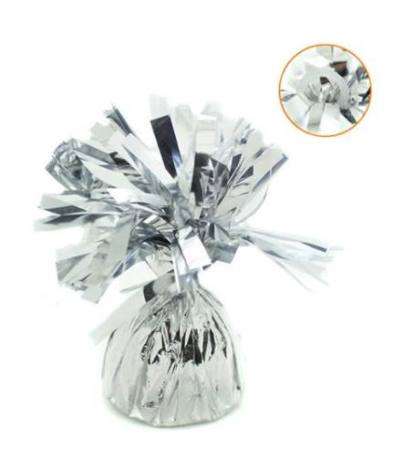 Gewichtje voor aan ballonnen in zilver folie