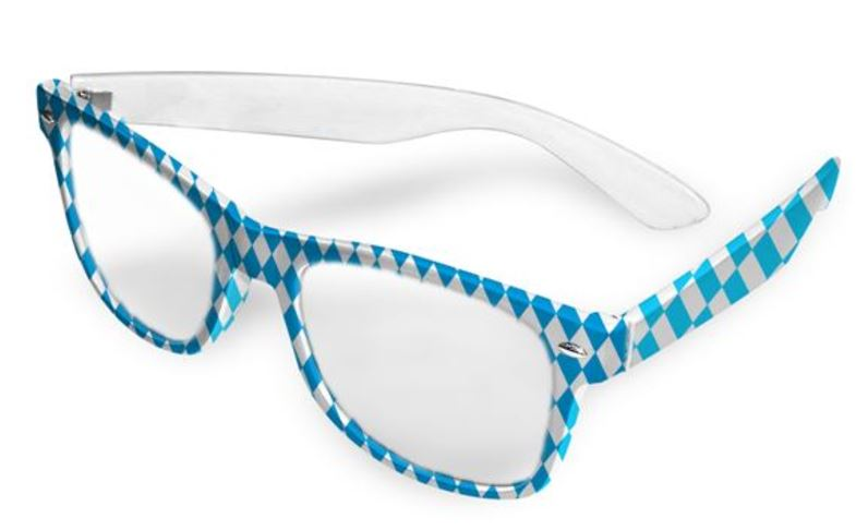 Bril Oktoberfest blauw wit geruit