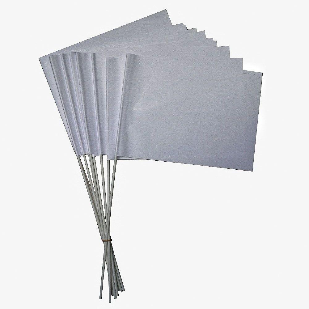 witte zwaaivlaggetjes papier 15x21cm 10 stuks