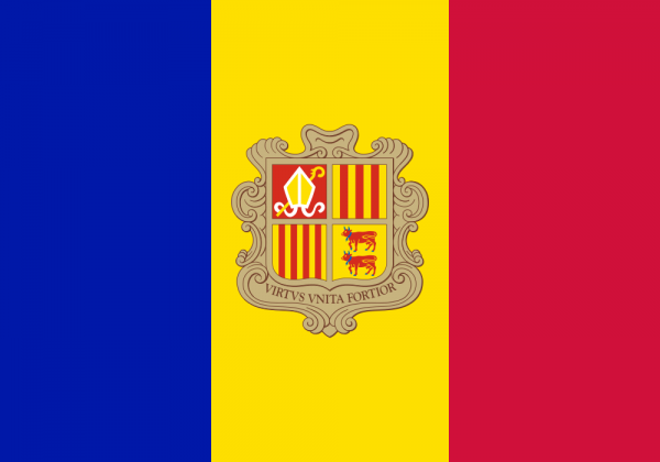 Tafelvlaggen Andorra 10x15cm | Andorrese tafelvlag