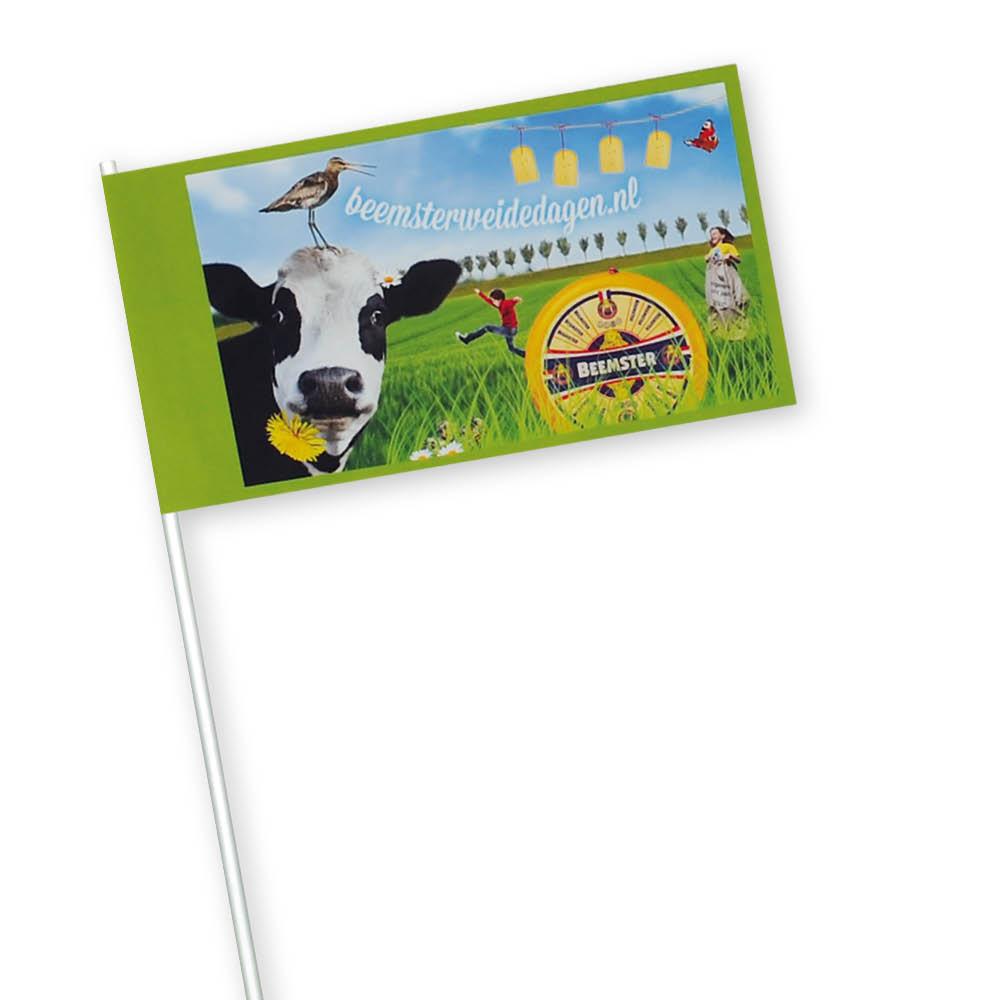 Zwaaivlaggen 21x30cm met uw reclame of logo bedrukken wij professioneel