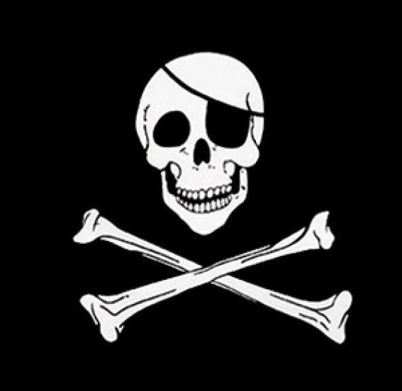 bandana piraten skull and crossbones 54x54cm