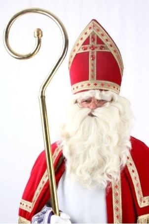 Compleet Sinterklaas baardset; baard, snor en pruik