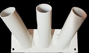 Vlaggenstokhouder Wit trio voor drie stokken 30mm muurbevestiging