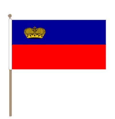 Zwaaivlag Liechtenstein 15x22,5cm, stoklengte 30cm