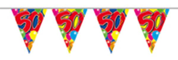 Vlaggenlijn gefeliciteerd 50 jaar ballonnen 10m