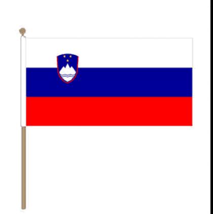 Zwaaivlag Slovenië, Sloveense zwaaivlag 15x22,5cm, stoklengte 30cm