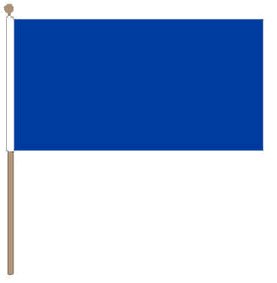 Tafelvlag blauw, blauwe tafelvlag 10x15 cm met lus en koordje, zonder stok.