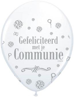 Ballonnen Gefeliciteerd met je Communie 8 stuks balonnen