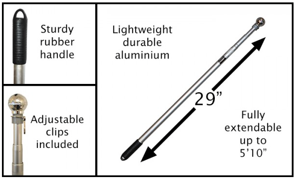 zwaai vlaggenstok aluminium uitschuifbaar tot 180 cm met chroom knop