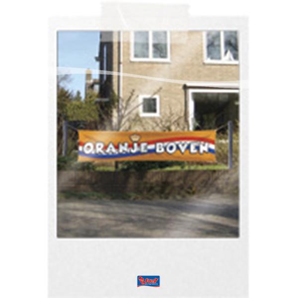 Oranje Boven spandoek banner Koningsdag