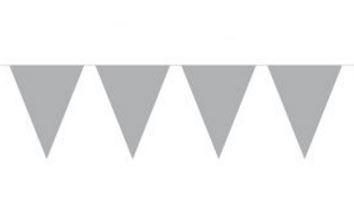 Vlaggenlijn effen zilver, zilveren wimpellijn 10m, PE