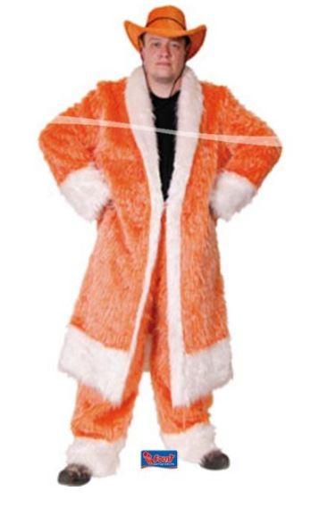 Oranje pluchen lange jas, maat XL XXL