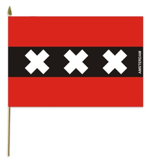 Zwaaivlag Amsterdam stof 30x45cm