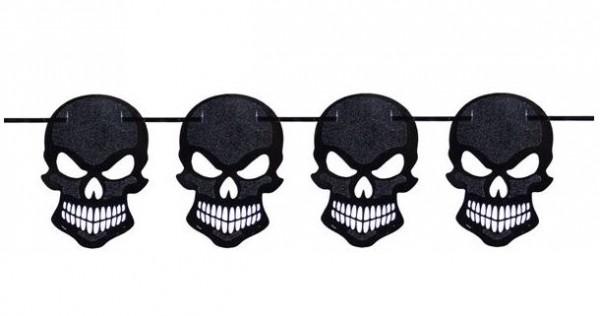 Slinger zwarte glitter skulls, doodskoppen 6 m voor Halloween en Piratenfeest