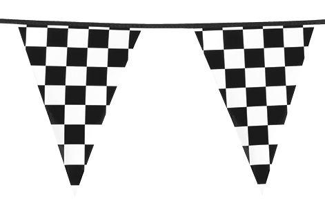 6 meter lange Vlaggenlijn Finish 15 zwart wit gebokte wimpels racing