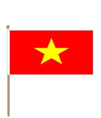 Zwaaivlag Vietnam, Vietnamese Zwaaivlaggen 30x45cm stoklengte 60cm