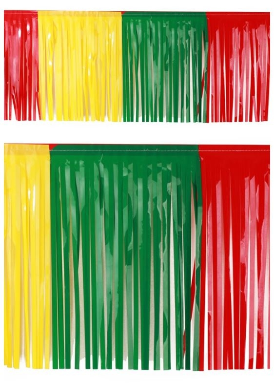 Vlaggenlijn slierten Carnaval rood/geel/groen Limburg BRANDVERTRAGEND 6m