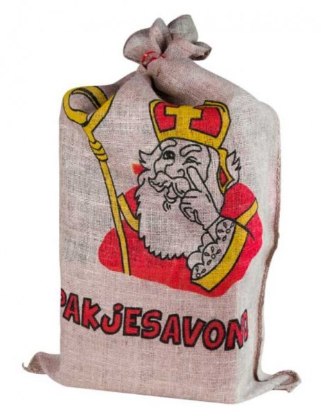 jute strooi zak van Sinterklaas staand