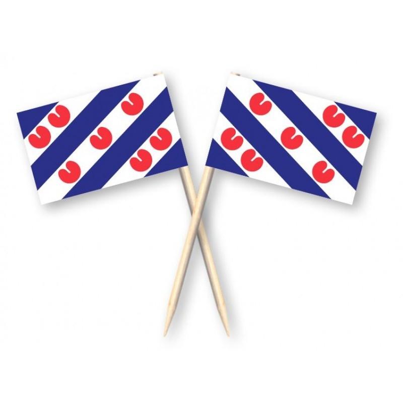 Cocktailprikkers met Friese vlag, Friesland Kaasprikkers, 50 stuks