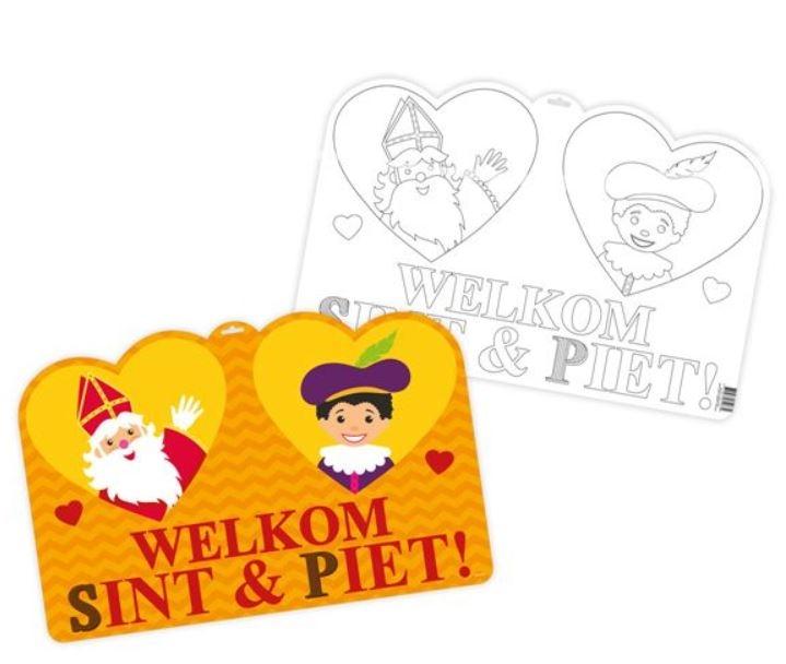 Sinterklaas Deurbord met Kleurplaat Welkom Sint en Piet