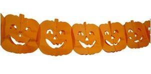 Papieren oranje slinger met Pompoenen Halloween 4 m