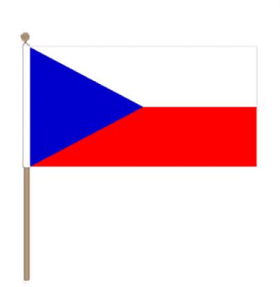 Zwaaivlag Tsjechië, Tsjechische zwaaivlag 15x22,5cm, stoklengte 30cm