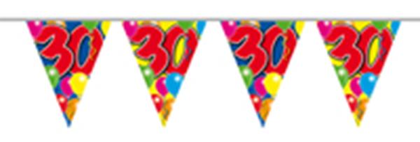 Vlaggenlijn gefeliciteerd 30 jaar ballonnen 10m