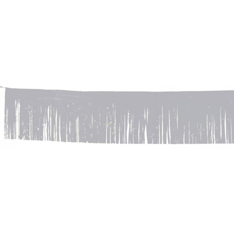 Vlaggenlijn zilver franje met zilveren slierten