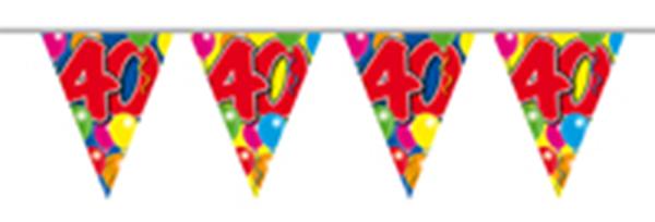 Vlaggenlijn gefeliciteerd 40 jaar ballonnen 10m