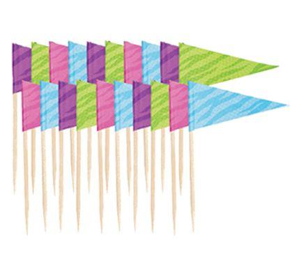 Cocktailprikker wimpelvorm in kleuren paars/groen/roze/blauw, 20 stuks