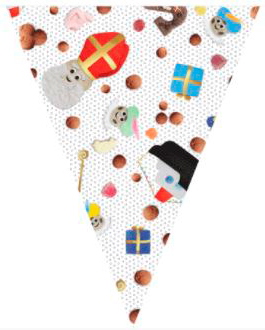 Vlaggenlijn snoepgoed Sinterklaas wit 10m