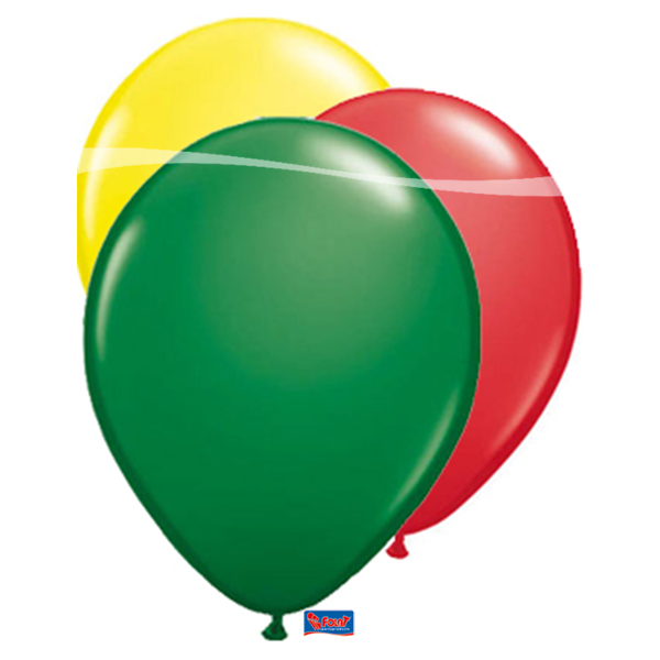 Ballonnen Carnaval Limburg rood geel groen 25 stuks