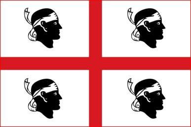Sardijnse vlag Sardinie 100x150cm gevelvlag