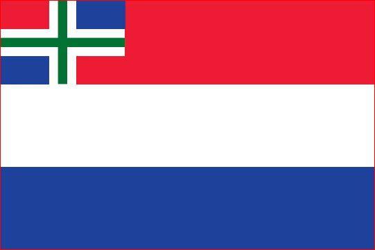 vlag Nederland met inzet Groninger vlag 100x150cm Groningse bootvlag