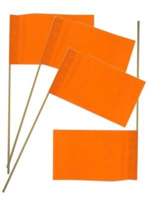 Papieren zwaaivlaggetjes Oranje 12x20cm  50 stuks