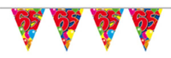 Vlaggenlijn gefeliciteerd 65 jaar ballonnen 10m