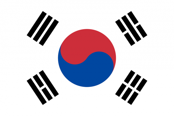 Tafelvlag Zuid Korea met standaard