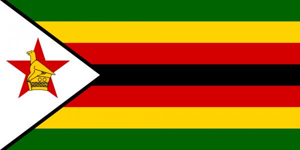 Tafelvlag Zimbabwe met standaard
