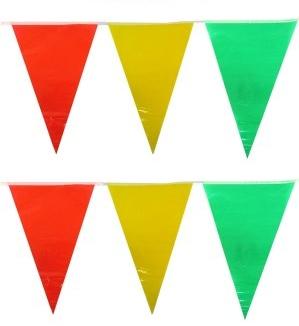 Vlaggenlijn rood/geel/groen 10m XXL Carnaval Limburg B1 Brandvertragend