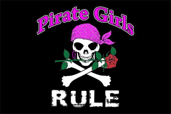 Pirate Girls Rule Piratenvlag 30x45cm