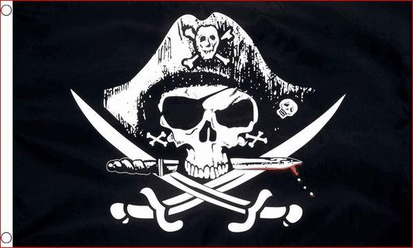 Piratenvlag Crossed Sabres 60x90cm ofwel gekruiste sabels degens