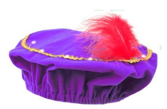 Pieten baret in paars met lichtje led