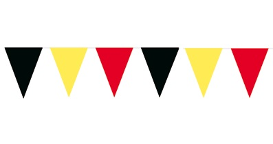 Vlaggenlijn Belgier met Belgische wimpels 10m1 lang met 100 vlaggen