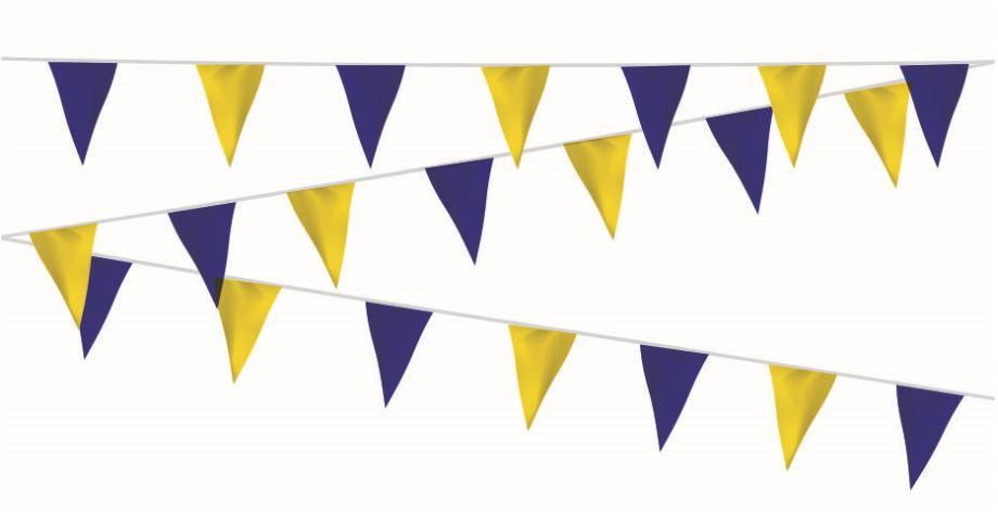 Vlaggenlijn blauw/geel, geel/blauw 20m extra zware kwaliteit