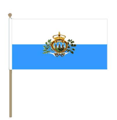 Zwaaivlag San Marino15x22,5cm, stoklengte 30cm