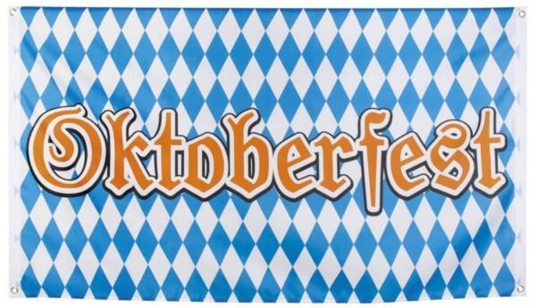 Oktoberfest vlag banier 90x150 Geblokt blauw-wit